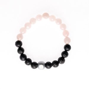 Rose quartz and lava stone bracelet by Medium Jay Lane