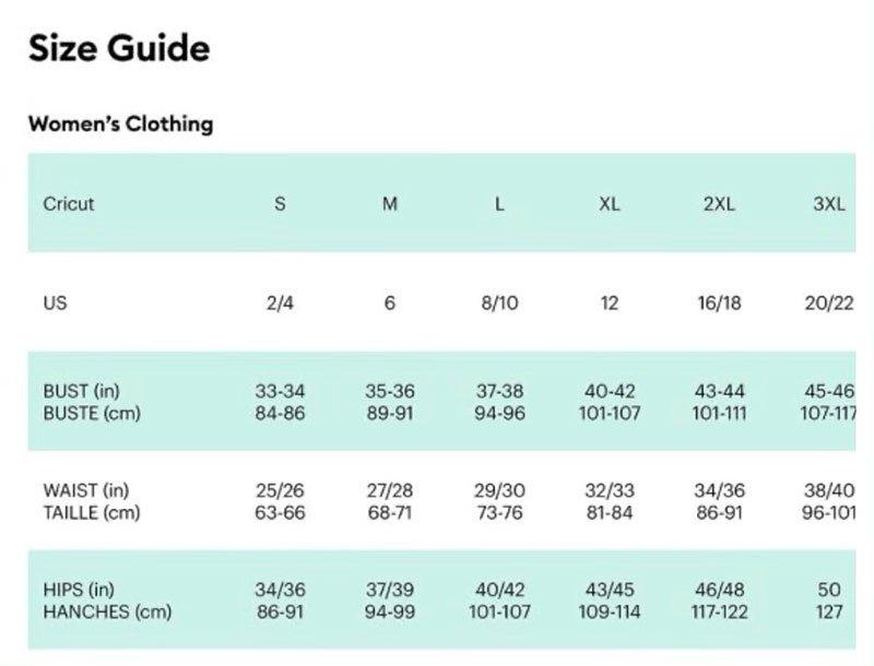Medium Jay Lane t-shirt size chart